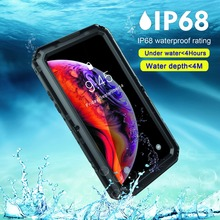 waterproof case armor Metal Aluminum 360 full Protect for Apple iPhone XS Max Case Cover IP68 xr 8 7 6 6s Plus Coque