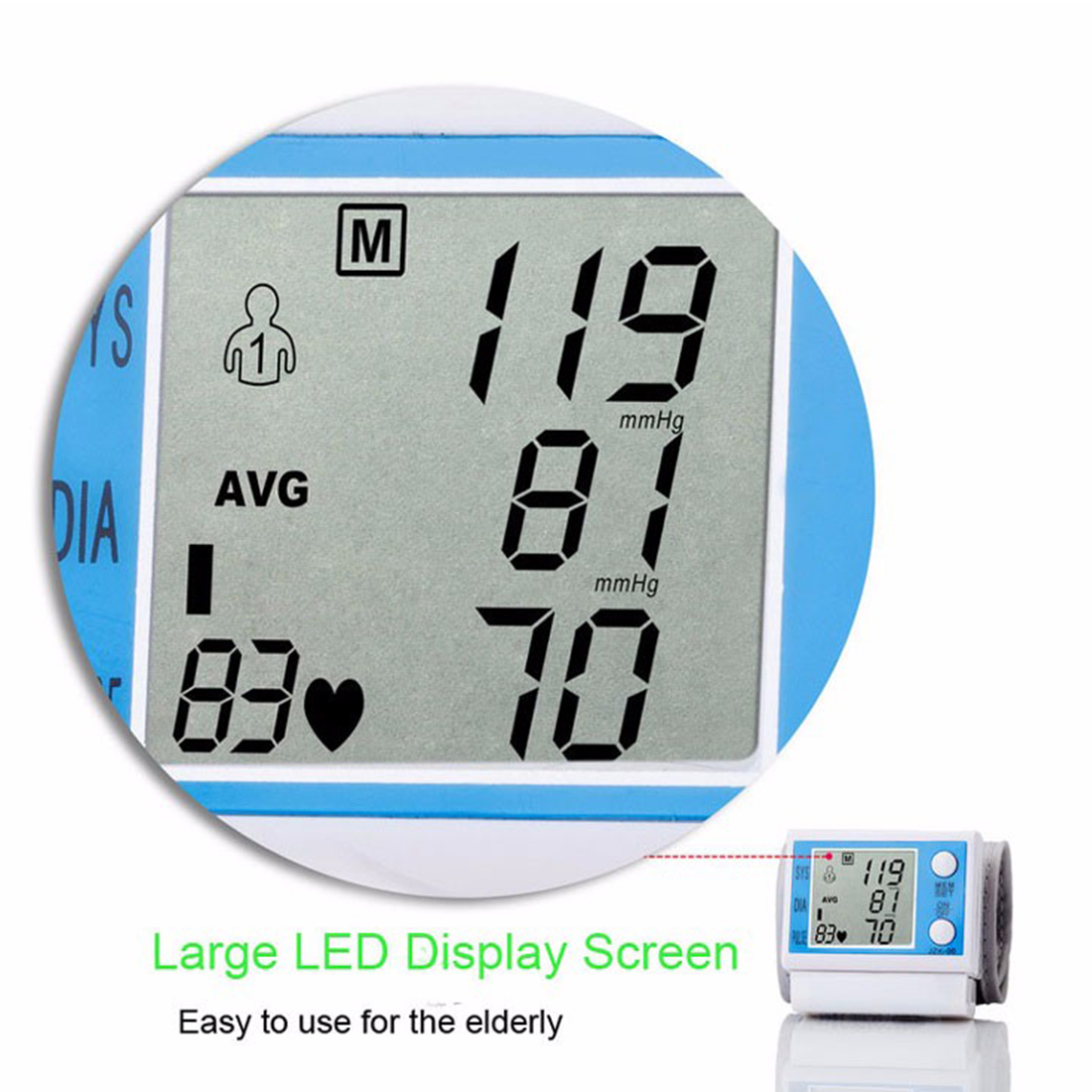 Householde Health Care Automatic Wrist Blood Pressure Monitor Digital LCD Wrist Cuff Blood Pressure Meter 9