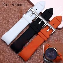 23MM Black Orange White Silicone Rubber Watch Strap Bracelet Watchband For ArmaniAR5346/AR5948/AR5987/AR5985/AR5979 With Logo