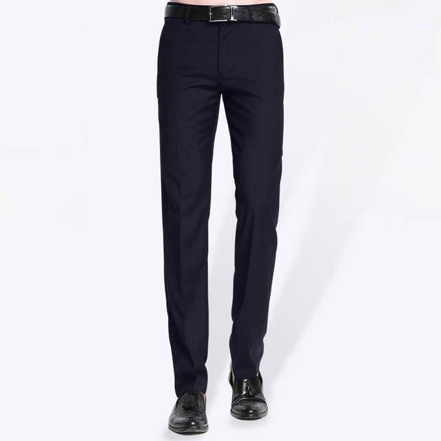 8e84880da0bf Online Shop 2019 Spring Autumn New Men Business Suit Pants Slim Fit  Straight Work Wear Non-iron Black Blue Formal Men Dress Pants