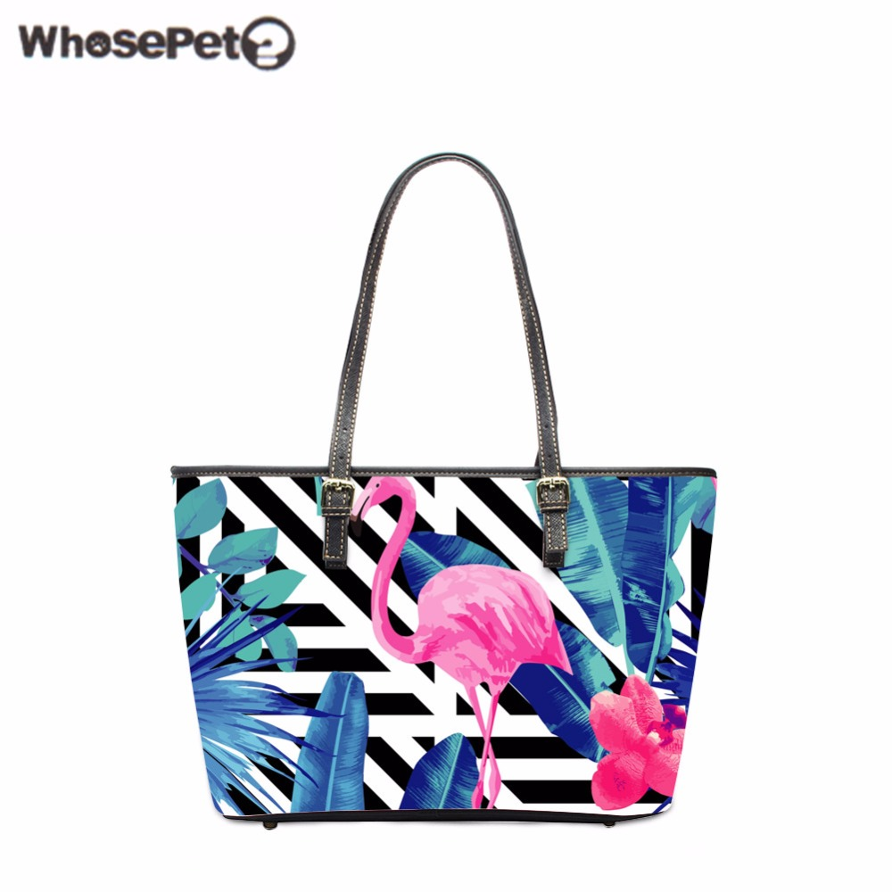 WHOSEPET Flamingo Handbags Women Tote Bags Lady Top-Handle Bags Designer Handbag High Quality Shoulder Bags for Girls Causal Bag швейная машинка astralux 7350 pro series вышивальный блок ems700