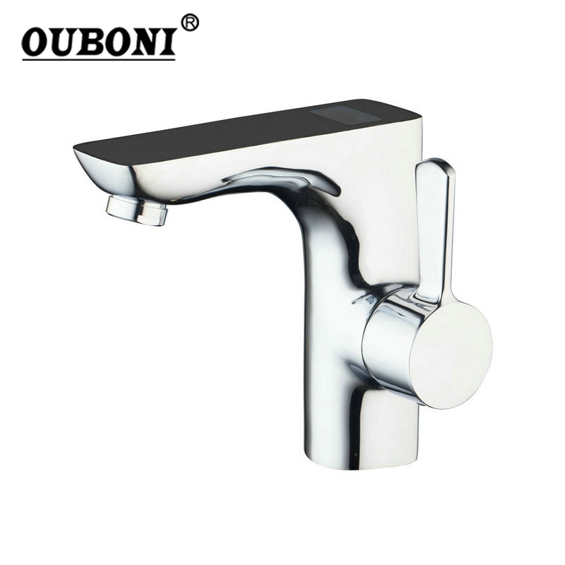 Bathroom Faucets Brass Chrome Finish Digital Display Temperature Number Faucet Water Deck Mount Sink Basin Water Tap china sanitary ware chrome wall mount thermostatic water tap water saver thermostatic shower faucet
