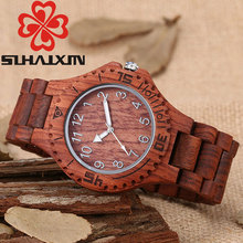SIHAIXIN Mens Watches Top Brand Luxury Edition Series Of Red Wooden Watch With Fashion Hot Selling Luminous Needle Clock Man