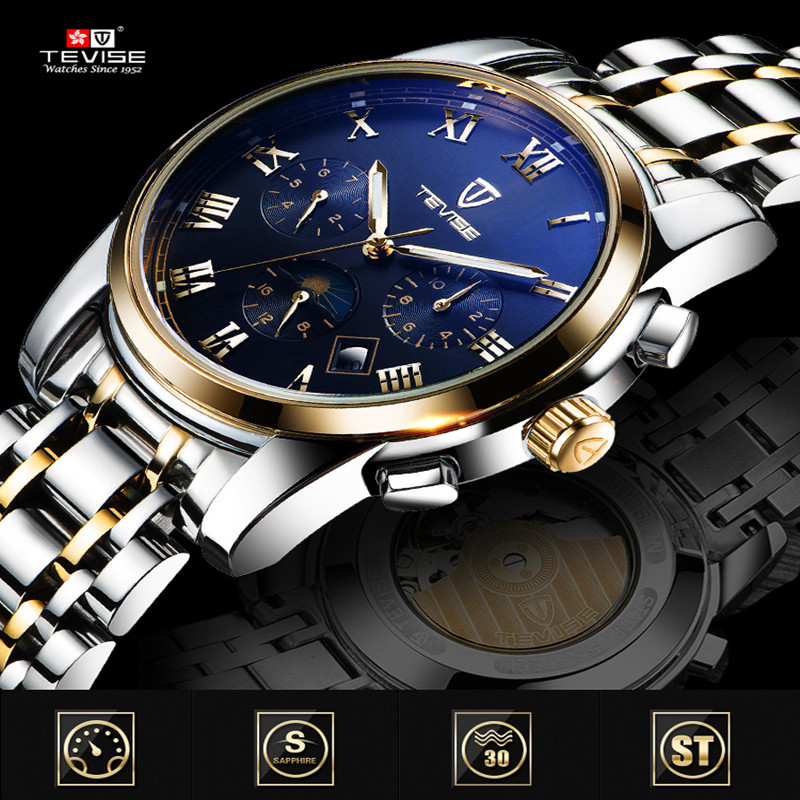 Men Watches Top Brand Luxury TEVISE Automatic Mechanical Watches Moon Phase Steel Clock Mens Wristwatches Relogio Masculino (6)