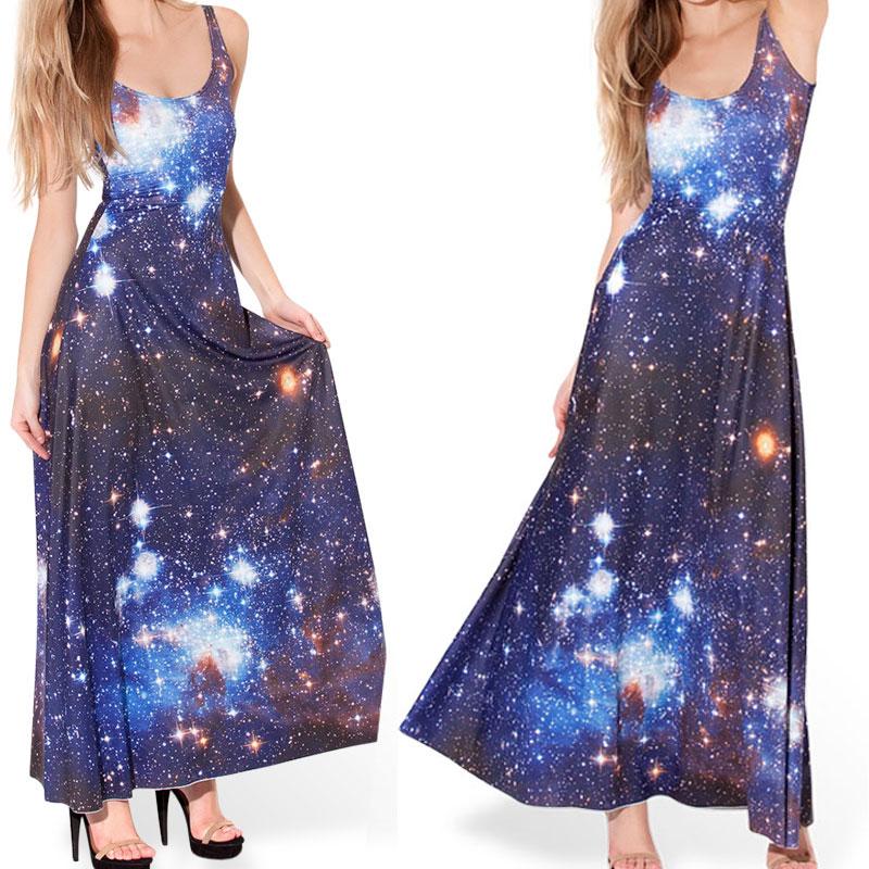 Blue Galaxy Dress Women Long Dress Sleeveless Maxi Dresses ...