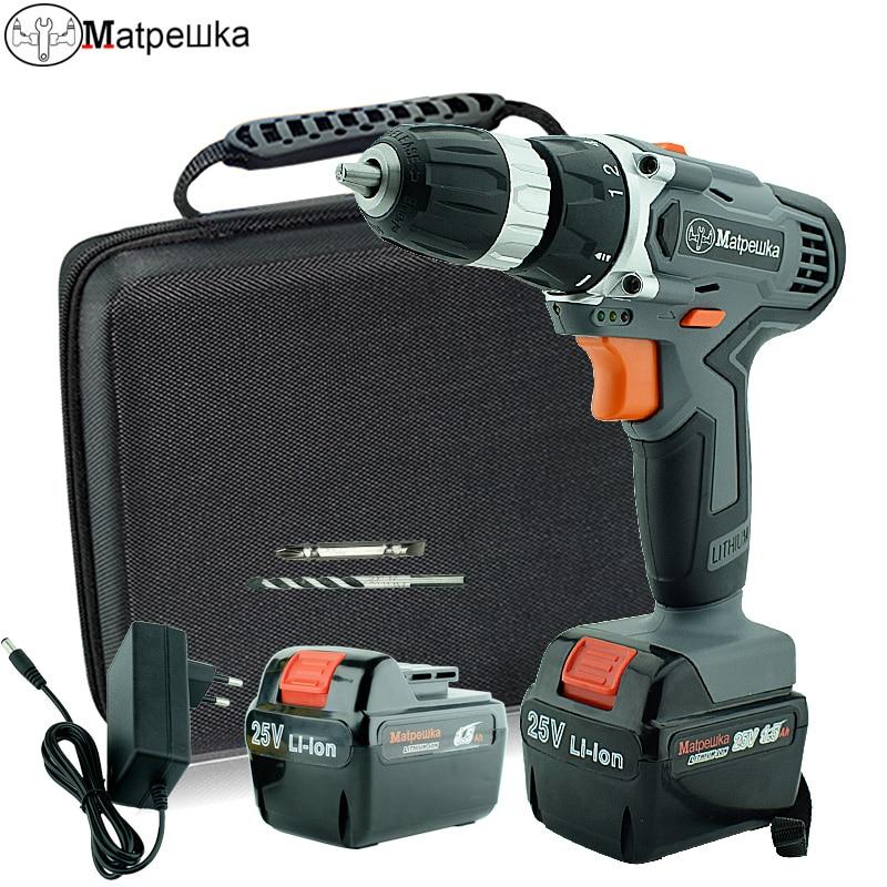 25 v Forage ménage perceuse sans fil multifonctionnel électrique tournevis rechargeable 2 batterie électrique power tool + sac En Tissu