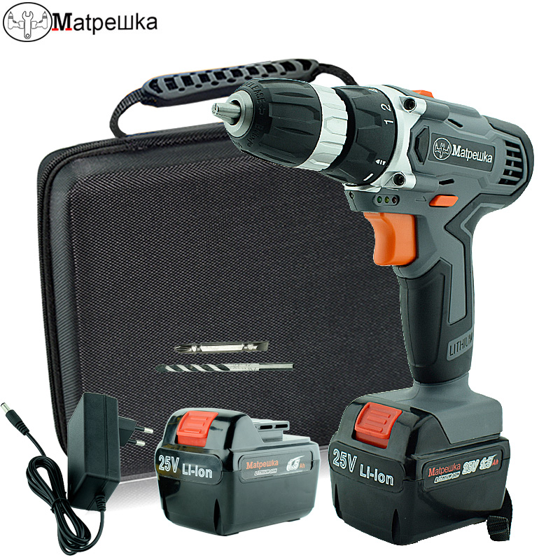25 v Trapano cordless domestico trapano multifunzionale cacciavite elettrico ricaricabile 2 batteria strumento di energia elettrica + sacchetto di Stoffa