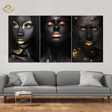 Cool Black Girls Wall Art HD Prints Canvas Painting Modular Picture And Poster Decoration Home 3 PIECES