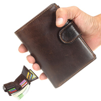 HOT 100 Genuine Crazy Horse Cowhide Leather Men Wallet Short Coin Purse Vintage Wallet Brand High