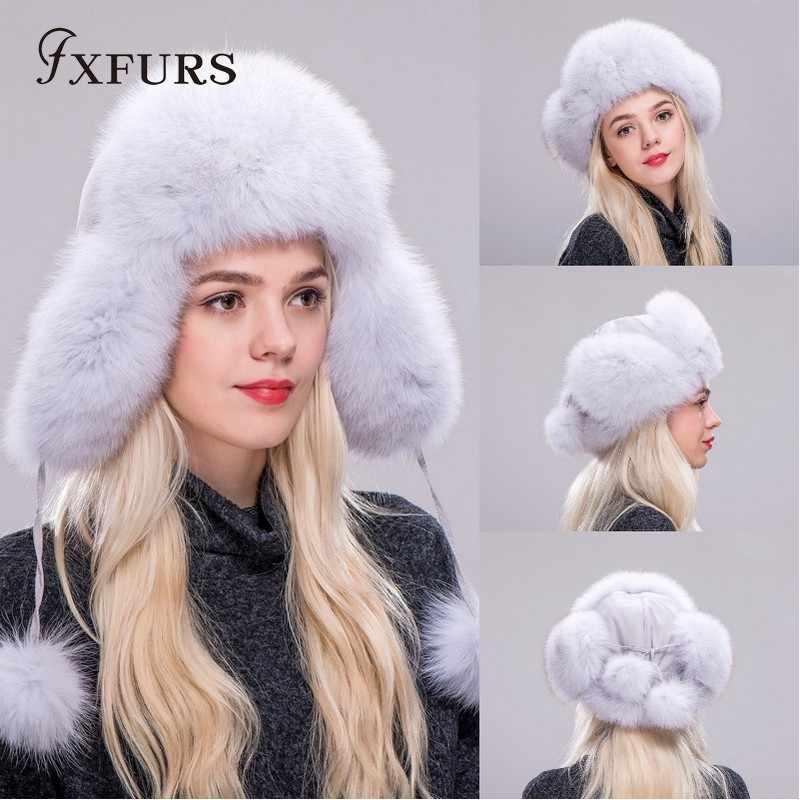 f28c7ac69871ba FXFURS 2019 Women Blue Fox Fur Hats Russian Raccoon Ushanka Hats Winter  Thick Warm Ears Fashion