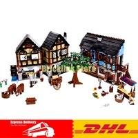 DHL строительные детали LePin 16011 1601 шт средневековой Рынок набор для строительства деревни модель строительные блоки кирпичи игрушки подарки
