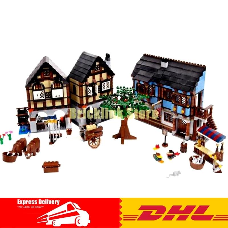 цена на DHL Lepin Building Bricks 16011 1601Pcs The Medieval Market village Set Model Building Blocks Bricks Toys Gifts 10193