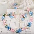 Longwei Корейской невесты диапазон волос розовый костюм синий головной убор цветок волос моделирования платье кристалл аксессуары 0343