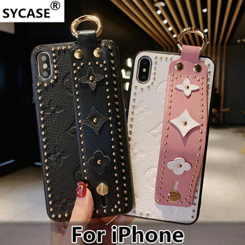 SYCASE Fashion Portable Leather phone case For iPhone X XR XS Max 6 6S 7 8 Plus case Wrist band protective cover for girls gift fashion phone case