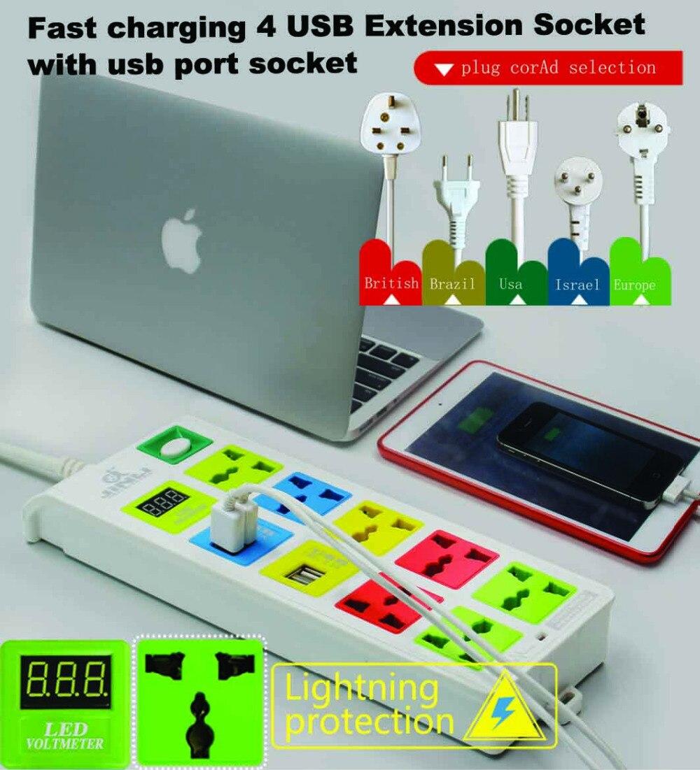 7 prises et charge rapide 4 prises d'extension USB avec multiprise voltmètre LED