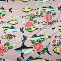 100X145cm Fashion Week Runway Fish Rose Pink Imitate Silk Satin Fabric For Woman Girl Summer Dresses