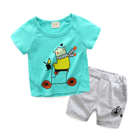 2PCS Suit 2018 New Kids Baby Boy Clothes Children Summer Toddler Boys Clothing Set Cartoon Fashion