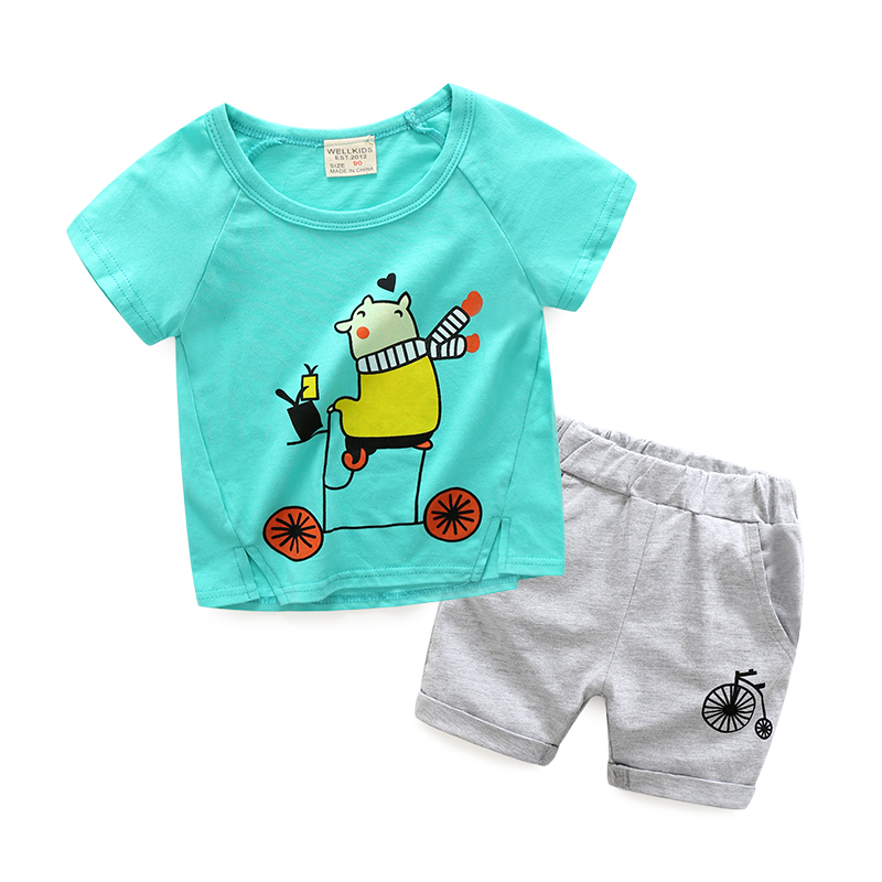 2PCS Suit 2018 New Kids Baby Boy Clothes Children Summer Toddler Boys Clothing Set Cartoon Fashion Cotton Cute Animal Sets aile rabbit summer 2016 new baby boy pattern rabbit toddler plaid kids clothes children clothing set