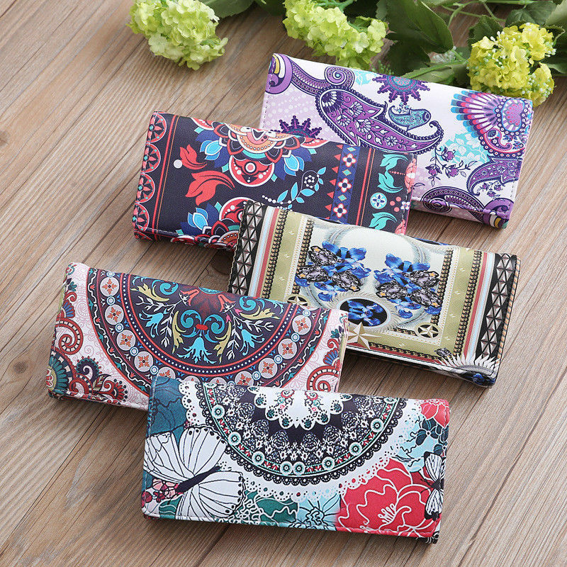 Women's Wallet Long National Style Printed Coin Purse PU Leather Credit Card Holding Fashion Clutch