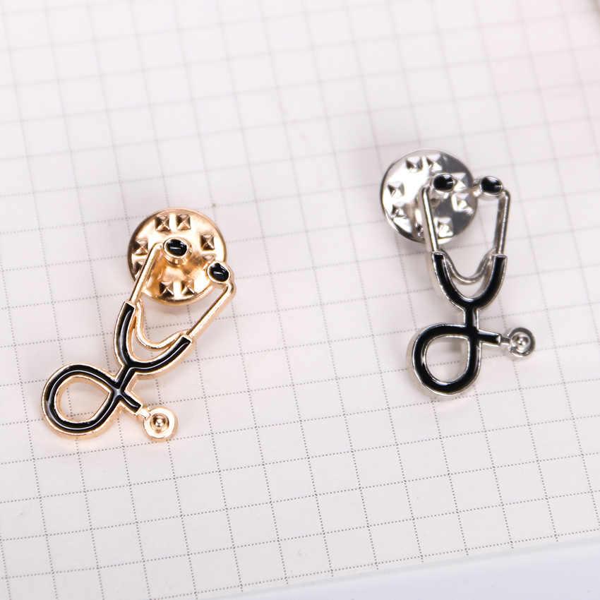Крошечная металлическая брошь в виде стетоскопа контактами для врач-медсестра Студенческая куртка рубашка булавка для воротника, лацкана значок кнопки медицинские ювелирные изделия