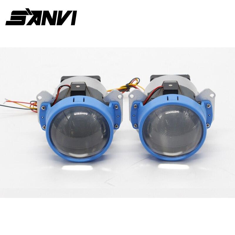 2017 SANVI Bi-LED Projector Lens LED Headlight Hi Lo Beam High quality Car-styling 45W 5500K Retrofit Car Lights led projector lens headlight with ballast 35w 5500k 3 inch projector lens led car