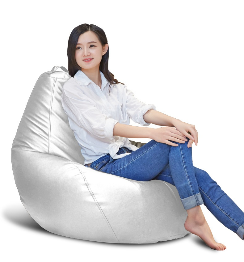 US $68.0 |Silver color new lazy sofa fashion comfortable living room  leather bean bag,Simple sofa chair Cover only No filler-in Sofa Cover from  Home & ...