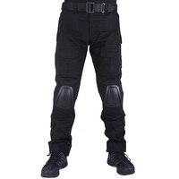 Камуфляж боевых Штаны мужские брюки тактические армейские Штаны со съемными наколенники черный