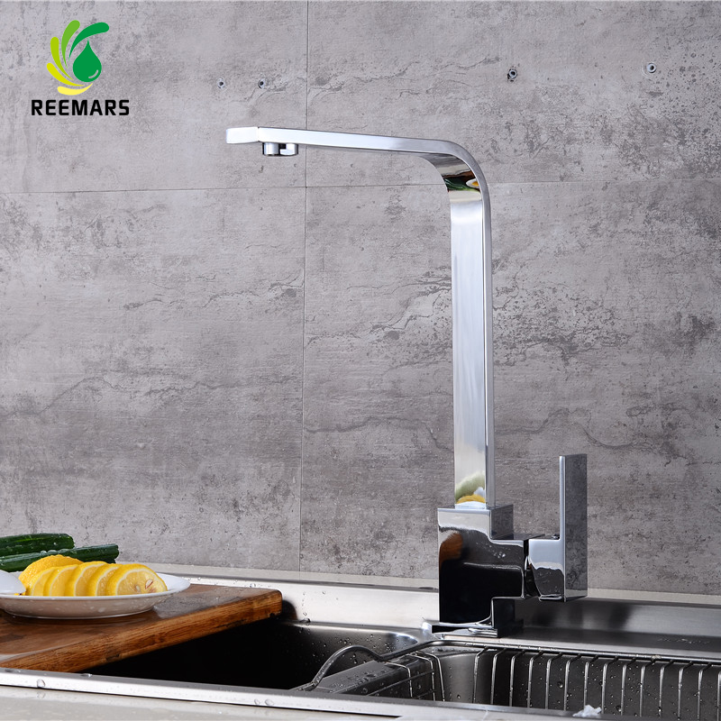 Genuine REEMARS Kitchen Faucet New Design Deck Mounted 360 Degree Rotation Vessel Sink Basin faucet Hot
