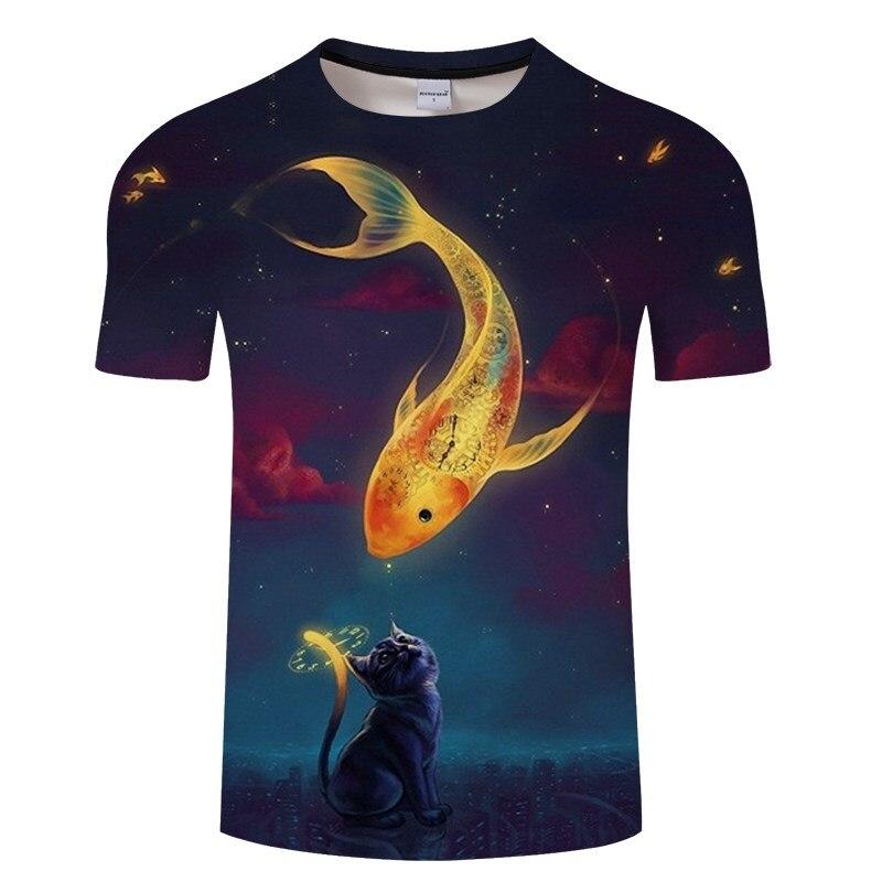 Черная футболка с 3D принтом кота для мужчин и женщин, летняя повседневная футболка с коротким рукавом и круглым вырезом, Топы И Футболки, Забавные футболки, Азиатские размеры S-6XL - Цвет: TXKH3146