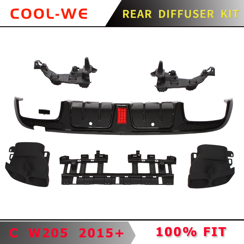 for Mercedes Benz W205 C CLASS Rear Bumper Diffuser with Exhaust C200 C250 C300 C350 C400 C43 for AMG C63 14 19