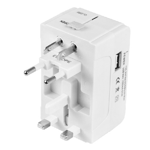 All in One Universal International Plug Adapter (EU + UK + AU + US Plug) Universal USB Charger Travel Adaptor