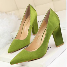 Free shipping spring women's fashion thick heel shallow mouth pointed toe hig heel shoes silks and satins single shoes