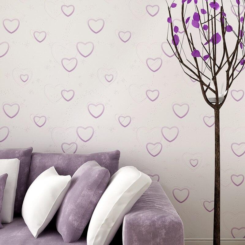 Coréen beau papier peint rose en forme de coeur bleu fille garçon chambre doux et pur et frais rural non-tissé papier peint