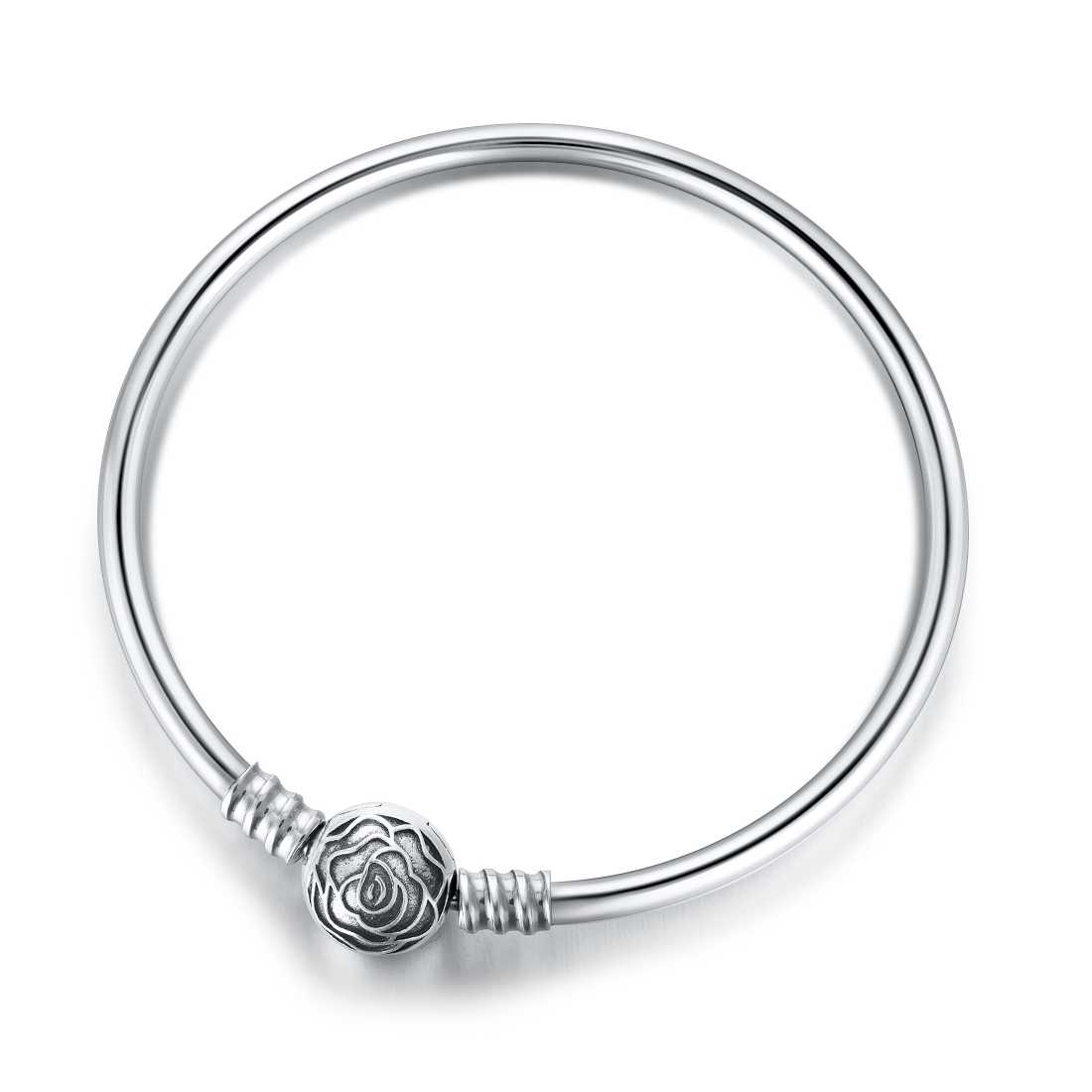 Jiayiqi 17-20cm Silver Bangle 925 Sterling Silver Rose Round Clip Charm Smooth Tube Bracelets For Women Fit Brand Jewelry DIY