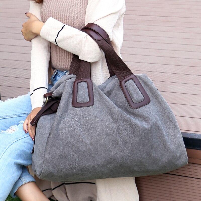 2018 New Women's Canvas Handbags High Quality Female Hobos Single Shoulder Bags Vintage Solid Multi-pocket Ladies Totes Bolsas