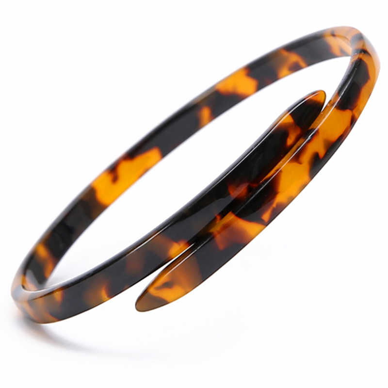 Acetate Tortoise Shell Vintage Acrylic Open Bangles Bracelets Leopard Print Women Fashion Cuff Charm Resin Jewelry Accessory