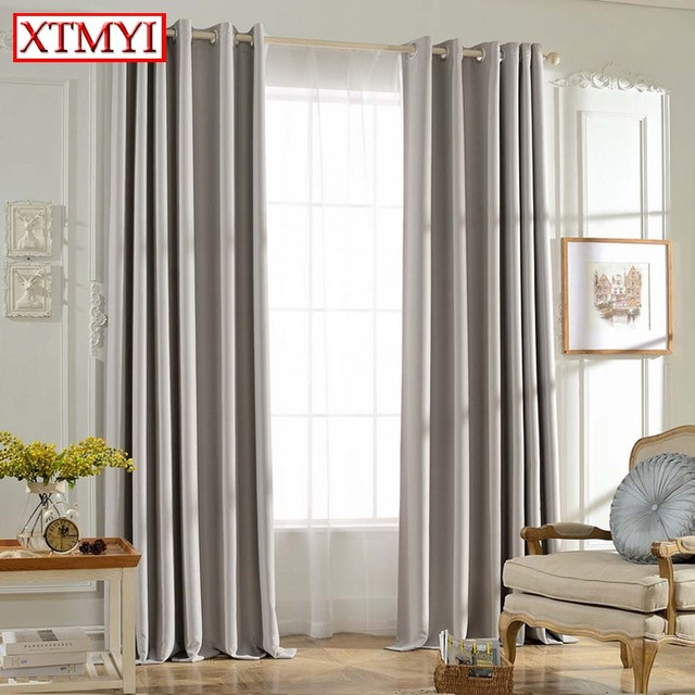 Solid Colors Blackout Curtains For The Bedroom Gray Color Window Curtain Living Room Blinds Custom Made