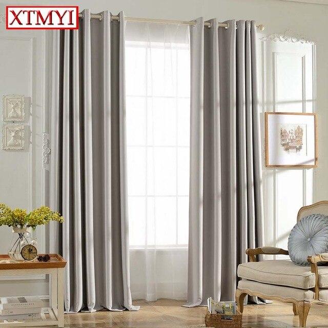 Solide Farben Blackout Vorhnge Fr Das Schlafzimmer Grau Farbe Fenster Vorhang Wohnzimmer Jalousien Nach Mass