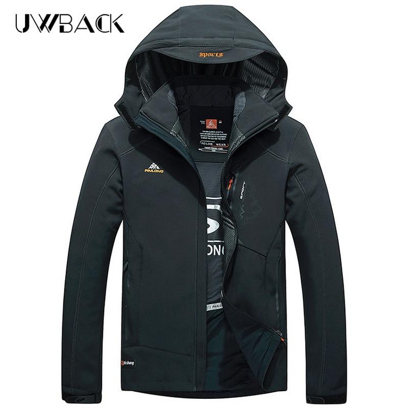 ФОТО Outdoor Softshell Jacket Removable Hooded Spring Climbing Hiking Waterproof Jackets Hunting Coats Men Climbing Windbreaker,UA307