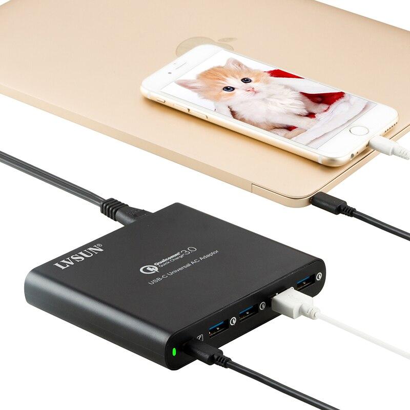 LVSUN QC 3.0 téléphone tablette adaptateur pour chargeur pc portable type-c type c USB-C USB c chargeur pour Macbook Spectre 13 Yoga 5 Dell Hp Xiao mi
