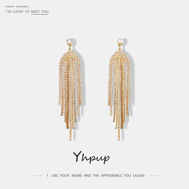 Yhpup Bling Rhinestone Long Tassel Dangle Earrings Copper Gold Silver Earrings For Ladies Luxury Jewelry For Party Wedding Gift