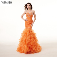 Saudi Arabia Evening Dresses Long 2018 Mermaid Sweetheart Lace Up Back Beaded Crystal Evening Gown Orange Prom Dress Prom Gown