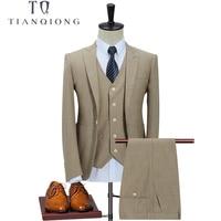 TIAN QIONG Retro Khaki Latest Coat Pant Designs British Style Custom Made Mens Suit Tailor Slim Fit Blazer Wedding Suits 3 Piece