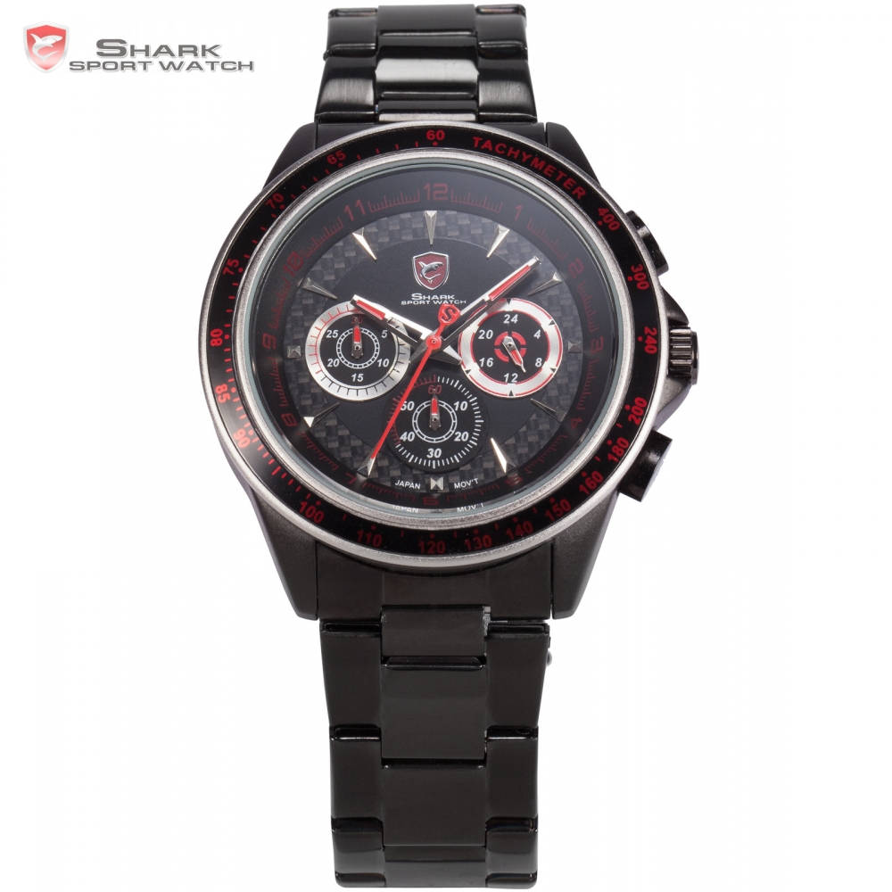 Bramble Shark Sport Watch Stainless Steel Case Black Red 24 Hours 3D Logo Male Clock Stopwatch Men Quartz Sports Watches /SH241 speatak sp9041g fashionable men s quartz watch w six stitch stopwatch black golden 1x lr626