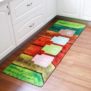 Image 4 - 60x180CM Kitchen Rug Antiskid Mat for Kitchen Floor Long Door Mat Vintage Style Kitchen Rug Non Slip Bedroom Bedside Mats