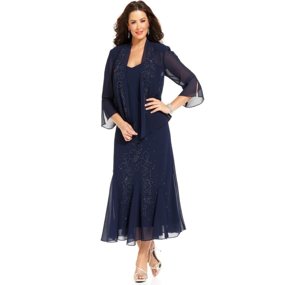 2018 Navy Blue Plus Size Chiffon Jacket Tea Length Mother