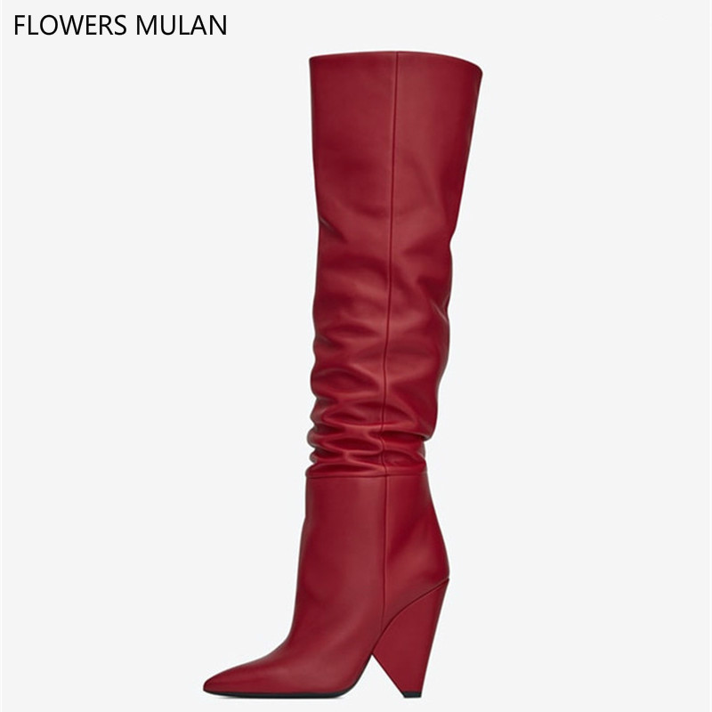 Zapatos De Mujer Luxury Designer New Colors Red Real Leather Knee High Boots High Heels Women Shoes Autumn Winter Boots Women mixed colors fashion women boots autumn and winter thick heels knight boots stretch knee high shoes zapatos mujer botas
