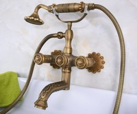 Carved Vintage Antique Brass Double Handles Wall Mounted Bathroom Clawfoot Bathtub Tub Faucet Mixer Tap w/Hand Shower ana223