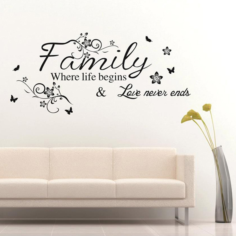 Love Family Words Wall Sticker Removable Where Life Begins Love Never Ends Quotes PVC De ...