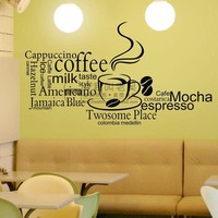 I love coffee kitchen wall sticker vinyl art home decal removable decoration